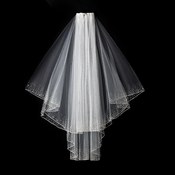 "Veil 139E White - 2 Layer Elbow Length w/Crystals (25"" x 30"" Long)"