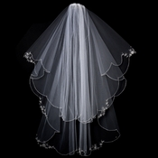 "Bridal Wedding Veil 1317 - w/ Embroidery (33"" x 41""long)"