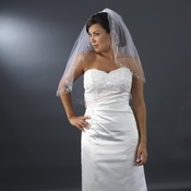 Single Layer Elbow Length Veil with Crystals & Silver Vine Embroidery V 201 1E