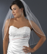 "VSH R 1F White - *Shimmer Veiling* Rattail Satin Corded Edge, 1 Layer Fingertip Length Veil (36""..."