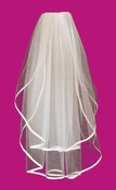 "Two Tier Veil with 3/8"" Wide Satin Ribbon Edge in Fingertip Length VSF38"