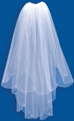 Scalloped Double Tulle Bridal Veil with V 468