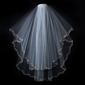 Double Layer Veil with Embroidered Floral Pattern on Pearl & Bead Scolloped Edge V 1780