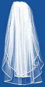 Double Layer Pencil Edge Veil with Rhinestone & Pearl Floral Accents 144