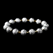 * Silver Spheres and Gold Crystal Bracelet 8505