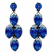 * Four Tone Blue Mix on Black Earring Set 8541