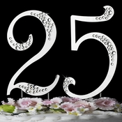"25th Anniversary  or Birthday Crystal Accented Cake Top "" Sparkle """