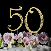 "50th Anniversary or Birthday Crystal Accented Cake Top ""Sparkle """