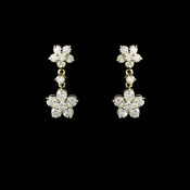 Stunning Antique Gold Clear CZ FLower Earring 6009