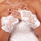 Satin Fingerless Wrist Length Bridal Gloves GL  9134 2 W