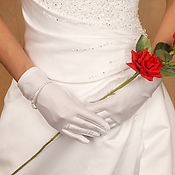 Matte Satin Wrist Length Bridal Gloves Style GL MW