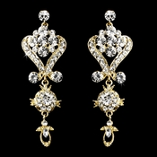 Beautiful Gold Clear Crystal Chandelier Earrings 1031