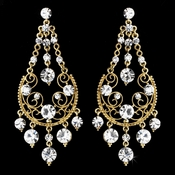 Clear Rhinestone Bridal Earrings E 941 (Silver or Gold)