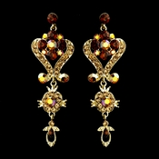Gold Brown Multi Crystal Chandelier Earrings 1031