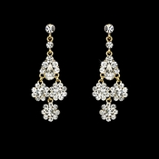 Dazzling Gold Clear  Chandelier Earrings E 940