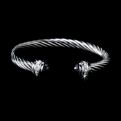 Silver with Black Stones Twisted Design Designer Bangle Bracelet B5007-BL