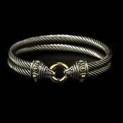 Designer Inspired Silver Double Cable Bangle Bracelet 3277