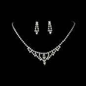* Silver Clear Crystal Necklace & Earring Set NE 340