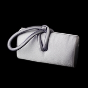 * Chic Silver Satin Evening Bag w/ Knotted Closure 237