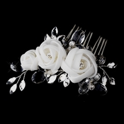 * Silver Crystal Ivory Chiffon Flower Hair Comb 942