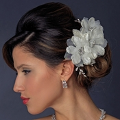 Ivory Rhinestone Flower Bridal Hair Comb 943