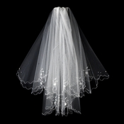 "Bridal Veil 138 White - On Comb, Scalloped Edge w/Pearls & Beading (23"" x 27"")"