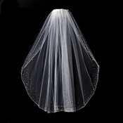 "Bridal Veil 139 1E Diamond White - Single Layer Elbow Length w/Crystals (30"" Long)"