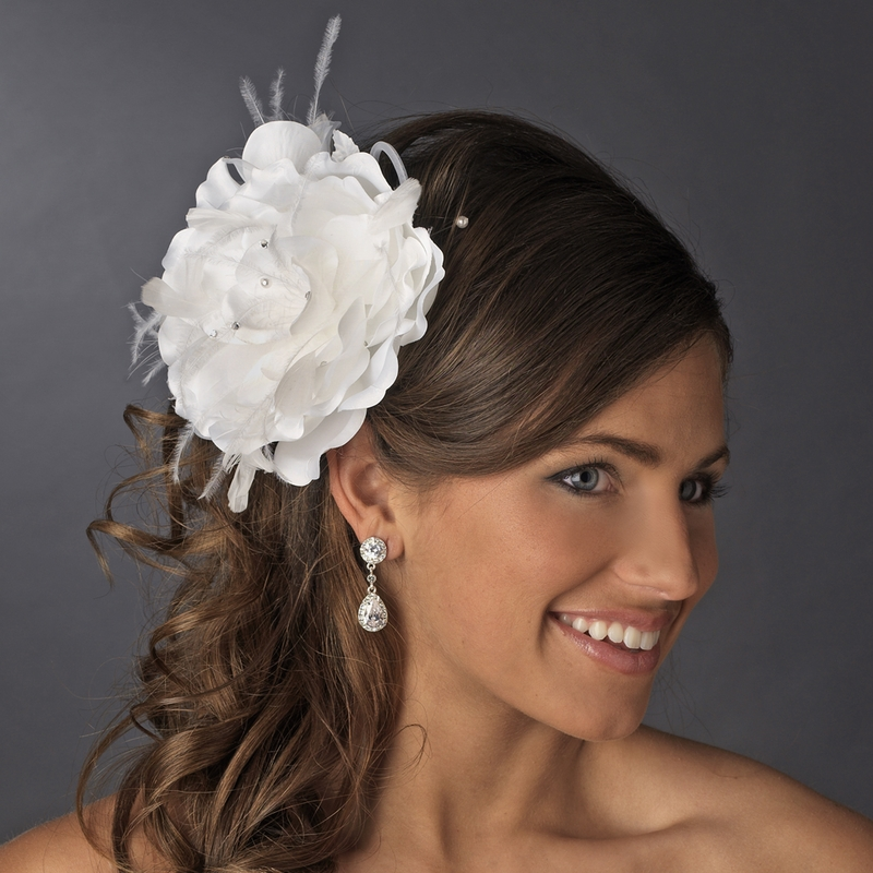 Bridal Flower Headpiece With Crystals Amp Feathers Clip 1142