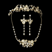 Freshwater Pearl & Crystal Gold Bridal Jewelry & Tiara Set