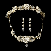 Swarovski Crystal & Freshwater Pearl  Bridal Jewelry & Tiara Set (Gold or Silver)