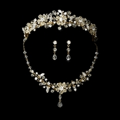 Swarovski Crystal Bridal Necklace Earring & Tiara Set 8003 (Gold & other colors)