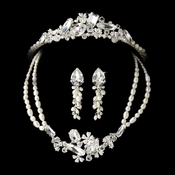 Pearl & Crystal Bridal Necklace Earring & Tiara Set 8238