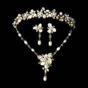 Freshwater Pearl & Crystal  Gold Bridal Necklace Earring & Tiara Set
