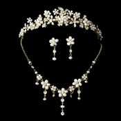 Swarovski Crystal, Gold & Pearl Bridal Tiara Set NE 8263 & HP 8452