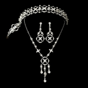 Elegant Rhinestone Bridal Necklace Earring & Tiara Set