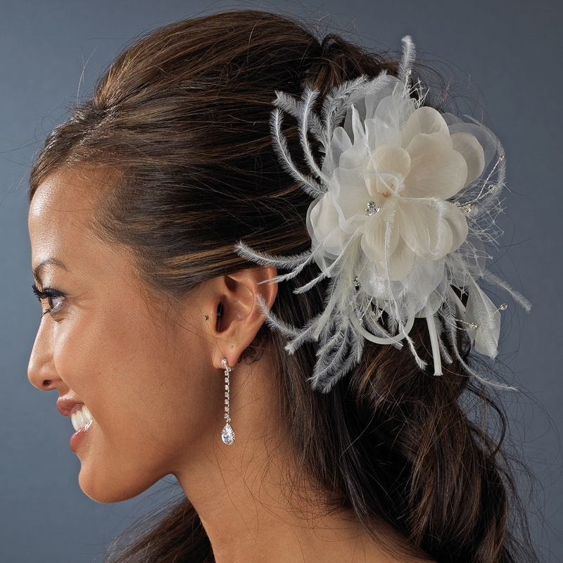 Wholesale Champagne Bridal Feather Fascinator Hair Comb