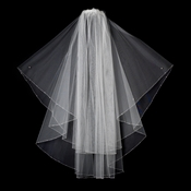 Double Tier Fingertip Length Veil with Rhinestone & Bugle Beaded Edge in White 2017