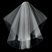 Two Tier Fingertip Veil with Exquisite Crystal & Pearl Accented Edge in White V 2020