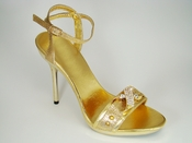 Saxon Gold High Heel Crystal Buckle Evening Shoe