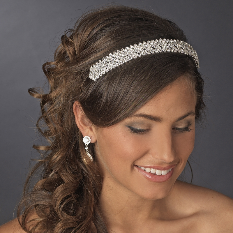 Compact Rhinestone Covered Headband In Lustrous Silver Plating