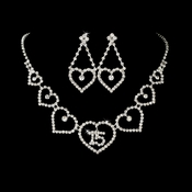 Matching Sweet 15 or 16 Rhinestone Necklace & Earring Jewelry Set 460