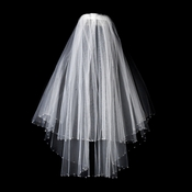 Double Layer Elbow Length White Veil with Breathtaking Swarovski Crystal Edge V 293