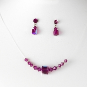 * Fuchsia AB Illusion Necklace & Earring Set NE 233