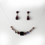 * Amethyst / AB Illusion Necklace & Earring Set NE 233