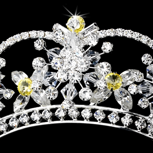 Sparkling Rhinestone & Swarovski Crystal Covered Tiara with Yellow Accents in Silver 523