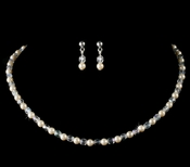 Precious Children's Silver Ivory Pearl & AB Crystal Bead Necklace & Earring Set 8443