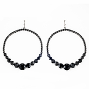 Black Rhinestone Hoop Earrings E 951