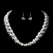 Silver Aurora Borealis w/ Ivory Fresh Water Pearl Necklace Earring Set 8518