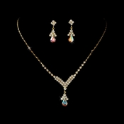 Gold and AB Necklace Set NE 344