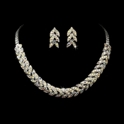 * Silver AB Rhinestone Choker Necklace & Earring Set NE 373